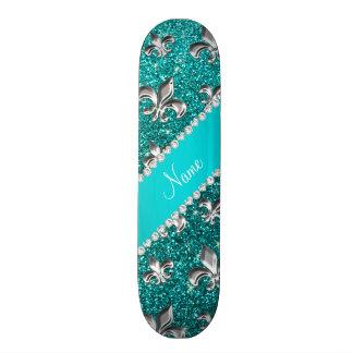Personalized name fleur de lis bright aqua glitter skateboard decks