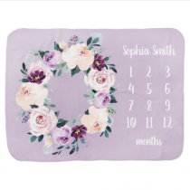 Personalized Name Floral Baby Girl Month Milestone Baby Blanket