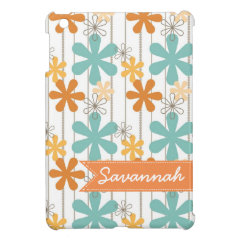 Personalized Name Floral Orange Blue Wall Flowers