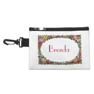 Personalized Name Flower Frame  Clip-On  Bag