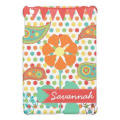 Personalized Name Flower Polka Dots iPad Mini Case
