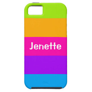 Personalized Name Fluorescent Neon Colors Striped iPhone 5 Case
