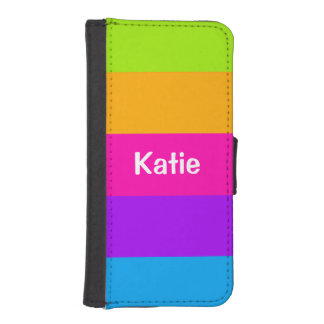 Personalized Name Fluorescent Neon Colors Striped iPhone SE/5/5s Wallet