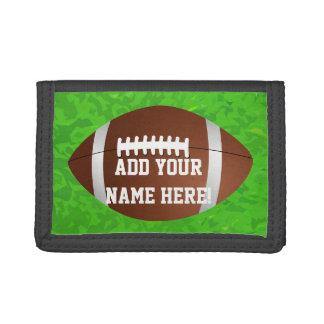 Personalized Name Football Boy's Junior Varsity Tri-fold Wallets