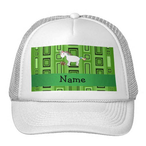 Personalized name football green squares hats