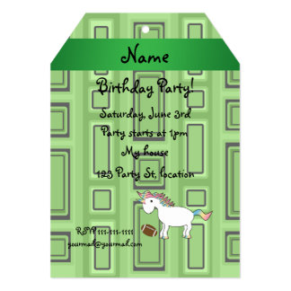 Personalized name football green squares custom invitations