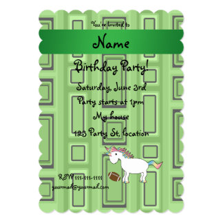 Personalized name football green squares invite
