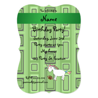 Personalized name football green squares personalized invites