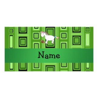 Personalized name football green squares photo greeting card