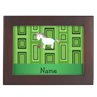 Personalized name football green squares keepsake boxes