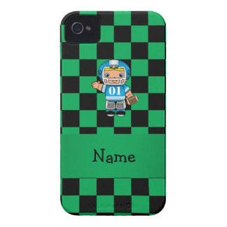 Personalized name football player green checkers Case-Mate iPhone 4 case