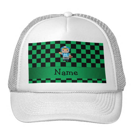 Personalized name football player green checkers trucker hat