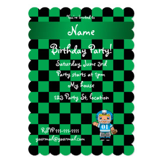 Personalized name football player green checkers invitation
