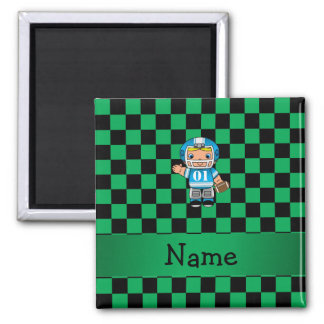 Personalized name football player green checkers magnets