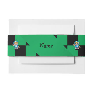 Personalized name football player green checkers invitation belly band