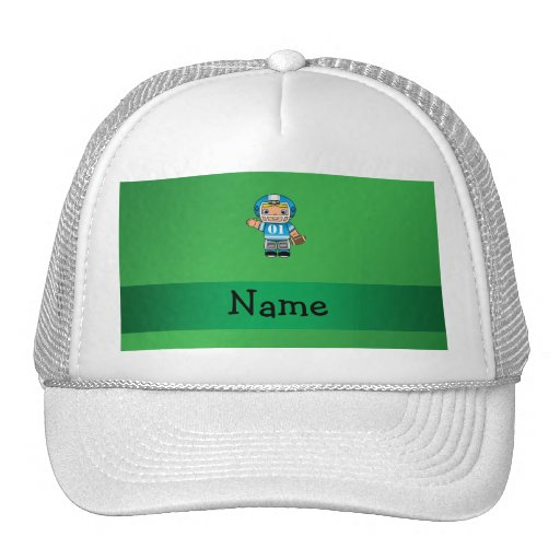 Personalized name football player green trucker hat