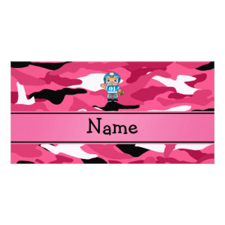 Personalized name football player pink camouflage photo card