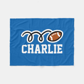 Personalized name football theme fleece blankets