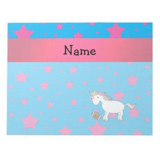 Personalized name football unicorn stars note pad