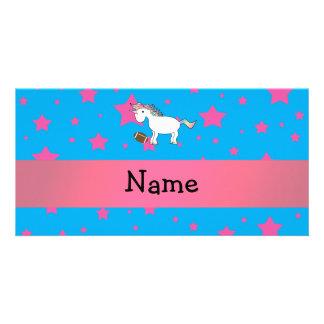 Personalized name football unicorn stars photo card template
