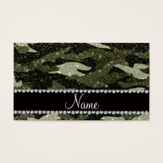 Personalized name forest green glitter camouflage business card