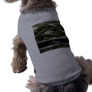 Personalized name forest green glitter camouflage pet tee shirt