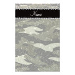 Personalized name forest green glitter camouflage customized stationery
