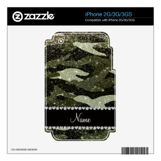Personalized name forest green glitter camouflage iPhone 2G skins
