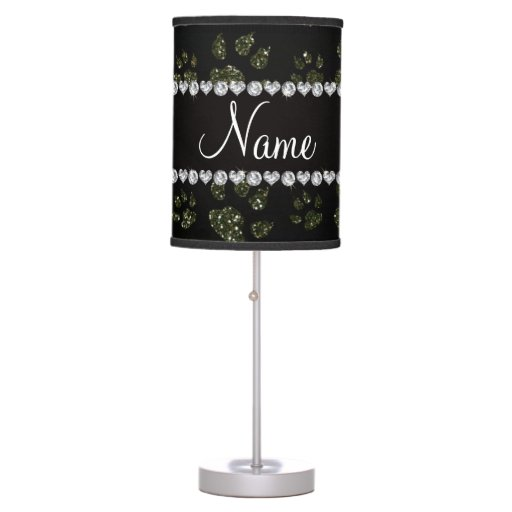 Personalized name forest green glitter cat paws desk lamp