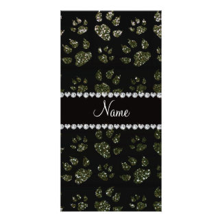 Personalized name forest green glitter cat paws photo cards