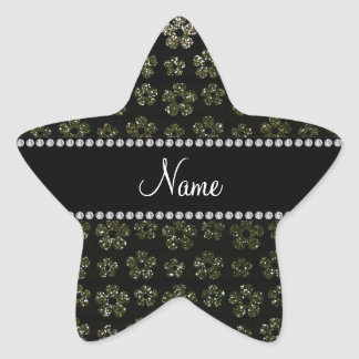 Personalized name forest green glitter flowers star stickers