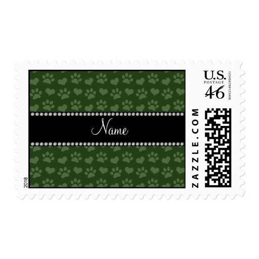 Personalized name forest green hearts and paw prin postage