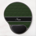 Personalized name forest green moroccan trellis gel mousepad