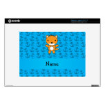 Personalized name fox blue anchors pattern decals for netbooks