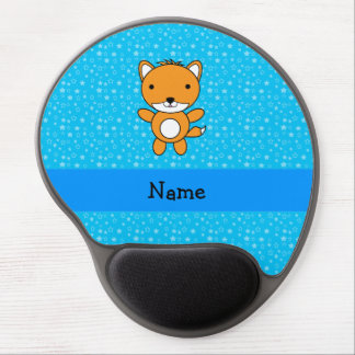 Personalized name fox blue stars gel mouse pad