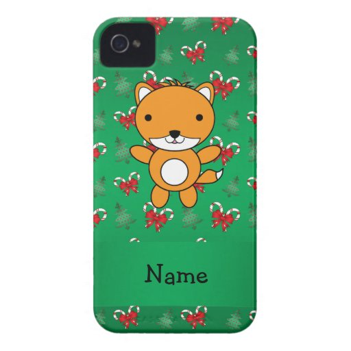 Personalized name fox green candy canes bows Case-Mate iPhone 4 cases