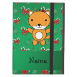 Personalized name fox green candy canes bows iPad folio cases