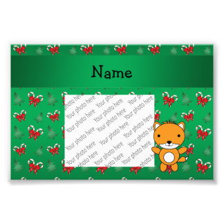 Personalized name fox green candy canes bows photo