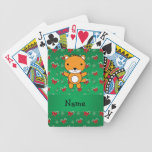 Personalized name fox green candy canes bows bicycle poker cards