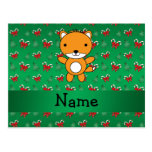 Personalized name fox green candy canes bows postcard