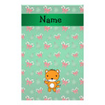 Personalized name fox green candy canes bows personalized stationery