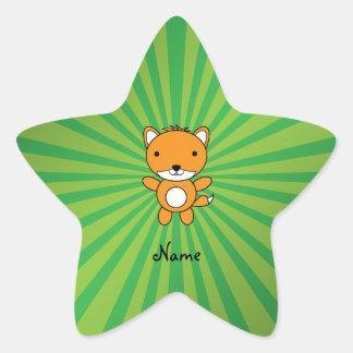 Personalized name fox green sunburst star sticker