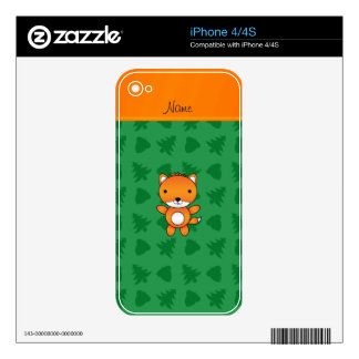 Personalized name fox green trees acorns decals for the iPhone 4