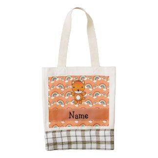 Personalized name fox orange rainbows zazzle HEART tote bag