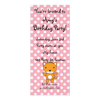 Personalized name fox pink polka dots invite