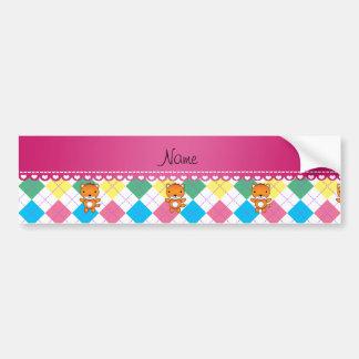 Personalized name fox rainbow argyle bumper sticker