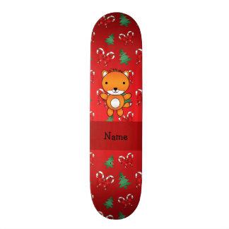 Personalized name fox red christmas bows skate decks