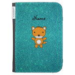 Personalized name fox turquoise glitter kindle folio cases