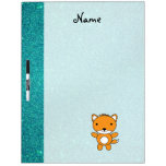 Personalized name fox turquoise glitter dry erase board