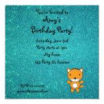 Personalized name fox turquoise glitter custom invites